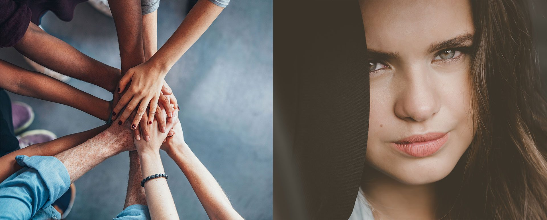 FamilySmart® homepage banner with young person and hands joined together